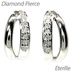 ピアス ゴールド 18k ダイヤモンド 地金 ライン シンプル プチ K18 WG luire-jewelry