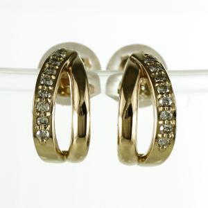 ピアス ゴールド 18k ダイヤモンド 地金 ライン シンプル プチ K18 YG luire-jewelry