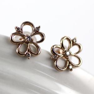 ダイヤモンド ピアス ゴールド 18k フラワー シンプル プチ K18 PG|luire-jewelry