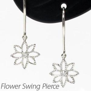 ダイヤモンド フックピアス ゴールド 18k フラワー 花 透かし 揺れる アメリカン|luire-jewelry