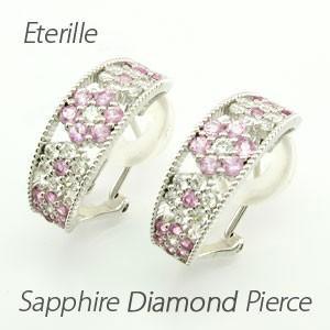 ダイヤモンド イヤリング レディース クリップ ピアス プラチナ 900 フラワー ミル ピンクサファイア|luire-jewelry