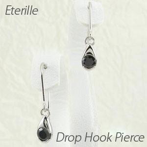 ブラックダイヤモンド ピアス プラチナ 900 ドロップ つゆ 一粒 揺れる|luire-jewelry