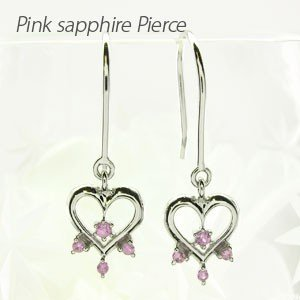 ダイヤモンド ピンクサファイア フックピアス プラチナ 900 ハート ハートモチーフ 揺れる|luire-jewelry