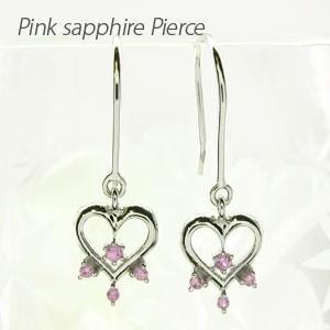 フックピアス ゴールド 18k ダイヤモンド ピンクサファイア ハート 揺れる 18金|luire-jewelry