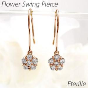 ダイヤモンド フックピアス ゴールド 18k フラワー 花 揺れる アメリカン18金 K18 PG|luire-jewelry