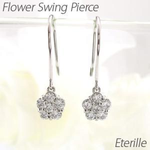 ダイヤモンド フックピアス プラチナ 900 フラワー 花 揺れる アメリカン|luire-jewelry