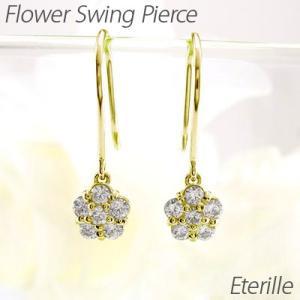 ダイヤモンド フックピアス ゴールド 18k フラワー 花 揺れる アメリカン18金|luire-jewelry