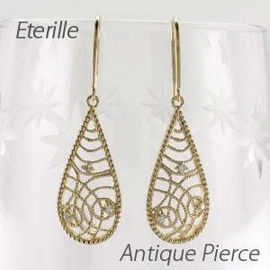 ピアス ゴールド 18k ダイヤモンド アンティーク ミル フック 揺れる 18金|luire-jewelry