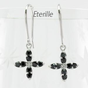 ブラックダイヤモンド ピアス フックブラックダイヤモンド ピアス プラチナ 900 フラワー 花|luire-jewelry