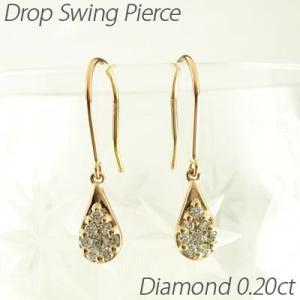 フックピアス ゴールド 18k ダイヤモンド ドロップ つゆ ミステリー 18金揺れる|luire-jewelry