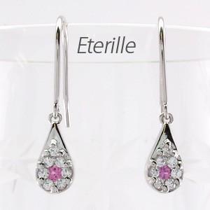 ダイヤモンド ピンクサファイア フックピアス プラチナ 900 ドロップ ミステリー 揺れる|luire-jewelry