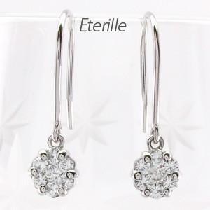 フックピアス プラチナ 900 ダイヤモンド フラワー ミステリー アメリカンゆれる|luire-jewelry
