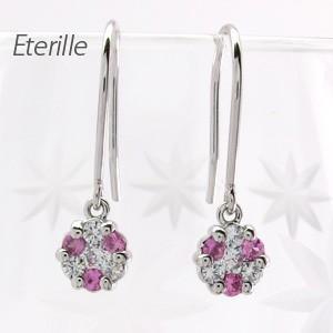 ダイヤモンド ピンクサファイア フックピアス プラチナ 900 フラワー ミステリー アメリカン|luire-jewelry