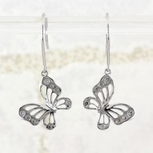 ダイヤモンド フックピアス プラチナ 900 蝶々 蝶 バタフライ アメリカン 透かし|luire-jewelry