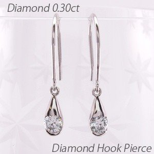 ダイヤモンド フックピアス ゴールド 18k 4月 誕生石 一粒 ドロップ 揺れる 18金 luire-jewelry