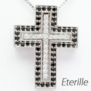 メンズ ネックレス クロス プラチナ 900 ダイヤモンド ペンダント 十字架 ブラック|luire-jewelry