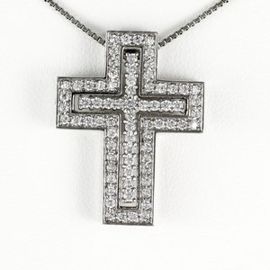 メンズ ネックレス クロス プラチナ 900 ダイヤモンド ペンダント 十字架|luire-jewelry