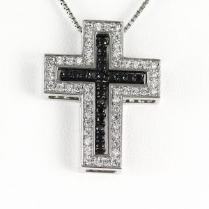 クロス ネックレス レディース ダイヤモンド ゴールド 18k ペンダント 十字架 ブラックダイヤモンド|luire-jewelry