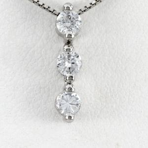 ダイヤモンド ネックレス レディース プラチナ 900 ペンダント トリロジー スリーストーン 揺れる ブラ|luire-jewelry