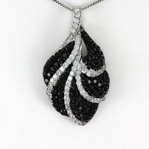ダイヤモンド ネックレス レディース ゴールド 18k ペンダント パヴェ ブラックダイヤモンド 18金|luire-jewelry