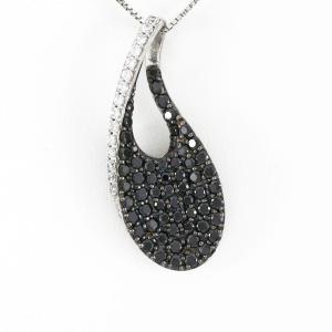 ブラックダイヤモンド ネックレス レディース プラチナ 900 ペンダント パヴェ ドロップ つゆ|luire-jewelry