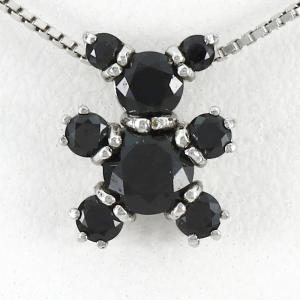 ダイヤモンド ネックレス レディース プラチナ 900 ペンダント クマ 熊 動物 アニマル ブラック|luire-jewelry
