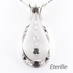 ブラックダイヤモンド ネックレス ゴールド 18k ペンダント ペアシェイプ 涙型 18金|luire-jewelry
