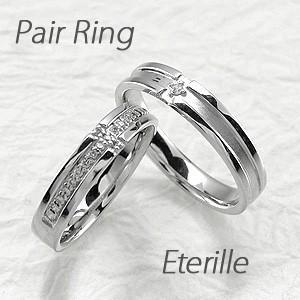 ペアリング プラチナ 900 ダイヤモンド 指輪 結婚指輪 マリッジリング クロス 十字架 luire-jewelry