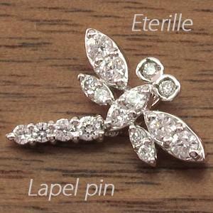 ラペルピン メンズ タイピン タイホルダー ゴールド 18k ダイヤモンド トンボ K18 WG|luire-jewelry
