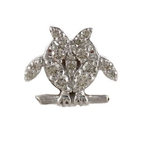 ラペルピン メンズ タイピン タイホルダー ダイヤモンド フクロウ 梟 アニマル SV925|luire-jewelry