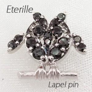 ラペルピン メンズ タイピン タイホルダー ブラックダイヤモンド フクロウ 梟 アニマル SV925|luire-jewelry