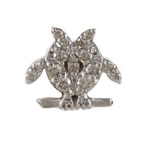 ラペルピン メンズ タイピン タイホルダー ゴールド 18k ダイヤモンド フクロウ 梟 アニマル|luire-jewelry