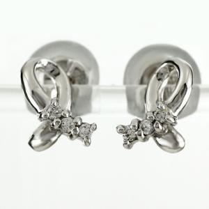 ピアス ダイヤモンド プラチナ 900 リボン シンプル ダイヤモンドピアス ダイヤピアス luire-jewelry