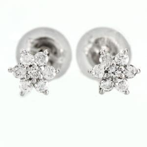 ピアス ダイヤモンド プラチナ 900 フラワー 花 シンプル ダイヤモンドピアス ダイヤピアス luire-jewelry