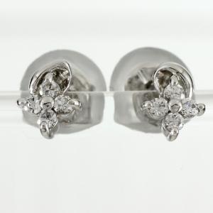 ピアス ダイヤモンド ゴールド フラワー 花 シンプル ダイヤピアス 18k K18 18金 luire-jewelry