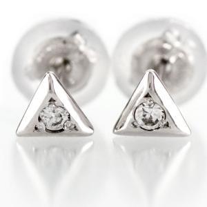 ダイヤモンド ピアス 一粒 ゴールド トライアングル 三角 シンプル 10k K10 10金 luire-jewelry