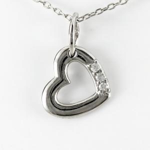 ハート ネックレス ダイヤモンド ペンダント プラチナ 900 オープンハート シンプル プチ luire-jewelry