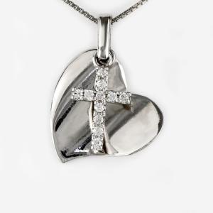 クロス ハート ネックレス ダイヤモンド プラチナ 900 地金 ブラ 揺れる ペンダント luire-jewelry