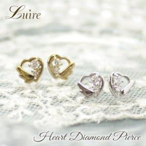 ピアス k18ゴールド ハート ダイヤ ピアス k18金 スタッドピアス ダイヤモンドピアス プレゼント 誕生日 k18イエローゴールド luire-jewelry
