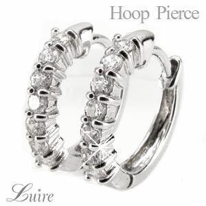 ピアス レディース 40代 ダイヤモンド フープピアス PT900 プラチナ 0.30ct|luire-jewelry
