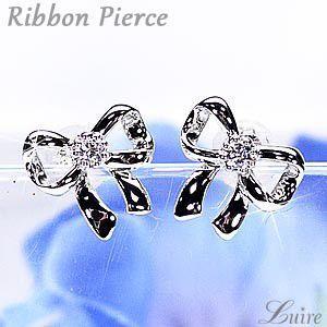 ピアス k18 リボンピアス スタッドピアス 一粒石 ダイヤモンドピアス プレゼント 誕生日 k18ホワイトゴールド luire-jewelry