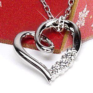 ネックレス ハートペンダント ダイヤ スリーストーン k18ホワイトゴールド 18金 天然ダイヤモンド ネックレス luire-jewelry