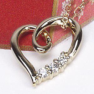 ネックレス ハートペンダント ダイヤ スリーストーン k18イエローゴールド 18金 天然ダイヤモンド ネックレス luire-jewelry
