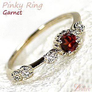 ガーネット ピンキーリング  ダイヤモンド パワーストーン K10イエローゴールド 10金  指輪 luire-jewelry