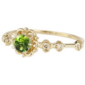 ペリドット ピンキーリング  ダイヤモンド パワーストーン K18イエローゴールド 18金 フラワー 花 luire-jewelry
