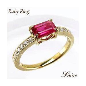 リング 角ルビー リング 天然ダイヤモンド  K18ゴールド 指輪|luire-jewelry