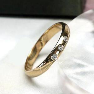 リング ダイヤ マリッジリング スリーストーン 天然ダイヤモンド K18ピンクゴールド 結婚指輪|luire-jewelry
