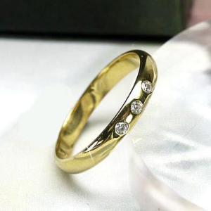 リング ダイヤ マリッジリング スリーストーン 天然ダイヤモンド K18イエローゴールド 結婚指輪|luire-jewelry