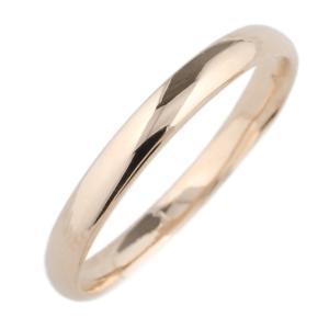 指輪 レディース 18金 甲丸 シンプル 地金リング k18ピンクゴールド ミディリング ファランジリング 重ね付け ストレート|luire-jewelry
