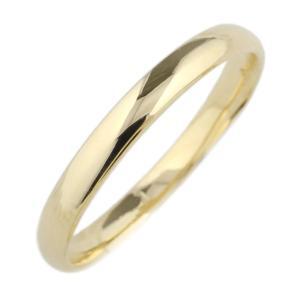 指輪 レディース 18金 甲丸地金 リング 結婚指輪  18kイエローゴールド ミディリング ファランジリング 重ね付け ストレート 指輪|luire-jewelry